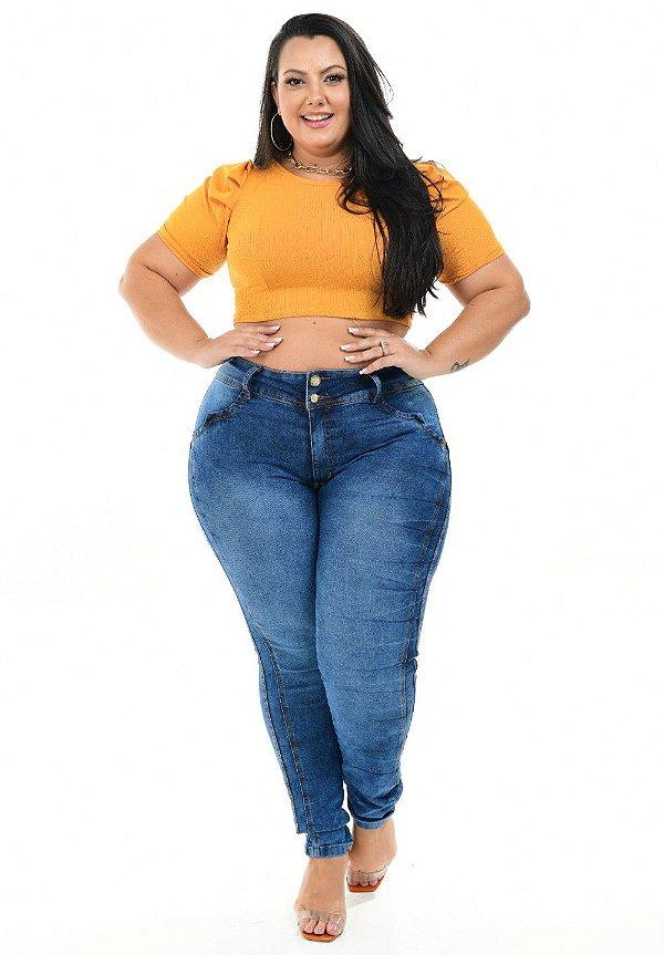 Calça Jeans Latitude Plus Size Skinny Thailis Azul