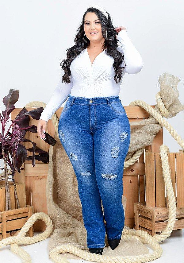 Calça Jeans Helix Plus Size Flare Lussandra Azul