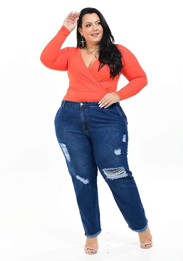 Calça Jeans Helix Plus Size Mom Julis Azul
