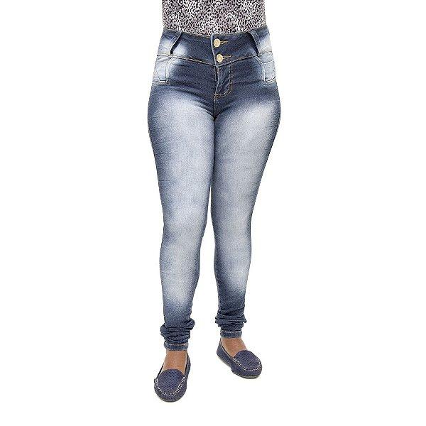 Calça Jeans Feminina Legging Credencial Escura Manchada