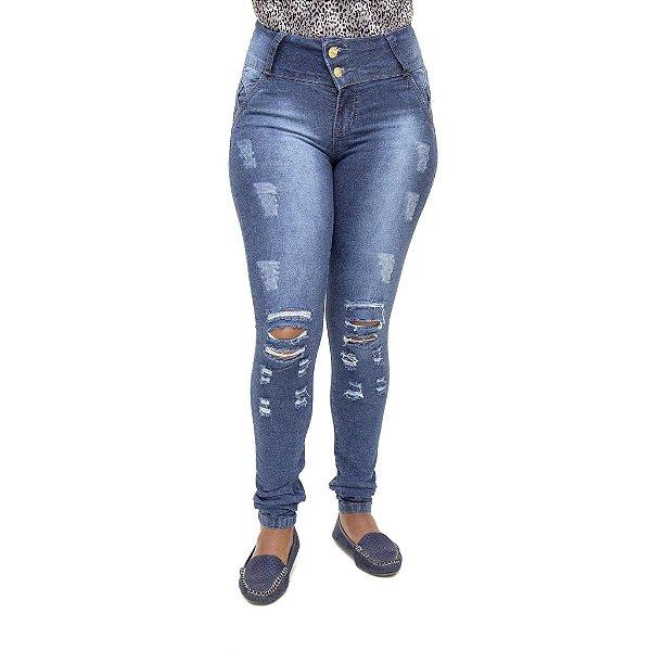 Calça Jeans Feminina Legging Meitrix Rasgada com Elástico