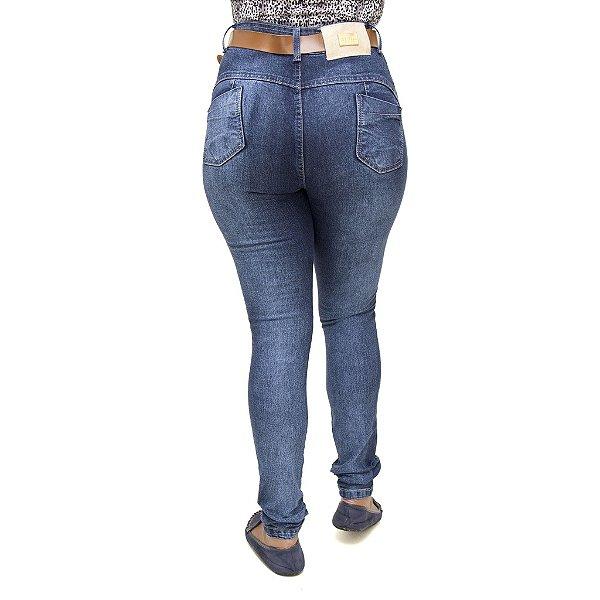 Calça Jeans Feminina Meitrix Azul Hot Pants Cintura Alta