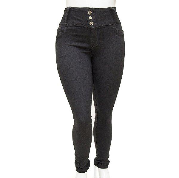 Calça Jeans Feminina Legging Cheris Preta Plus Size com Cintura Alta