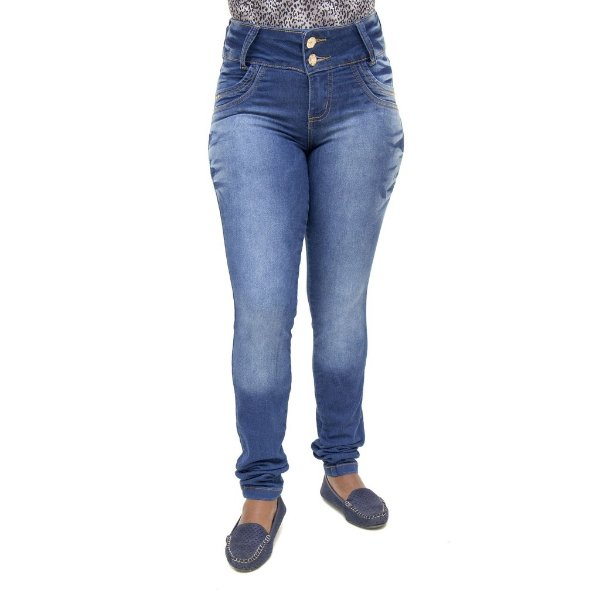 Calça Jeans Feminina Legging Prirre Azul Escura Levanta Bumbum