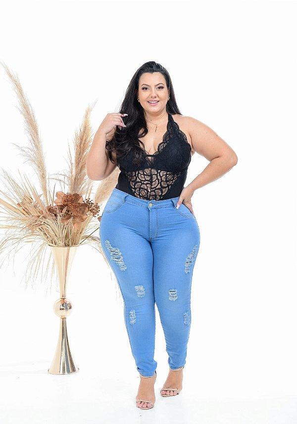 Calça Jeans Latitude Plus Size Skinny Geysuellen Azul