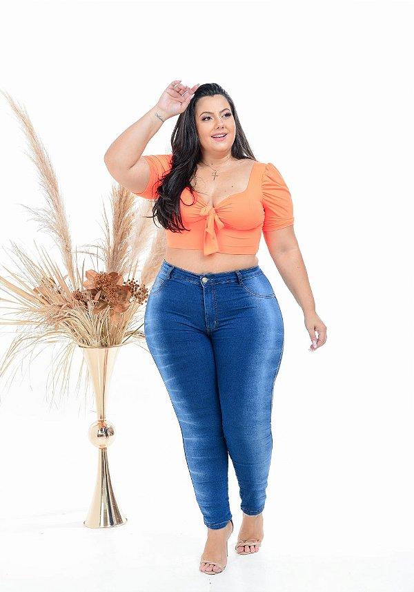 Calça Jeans Latitude Plus Size Skinny Susiannye Azul