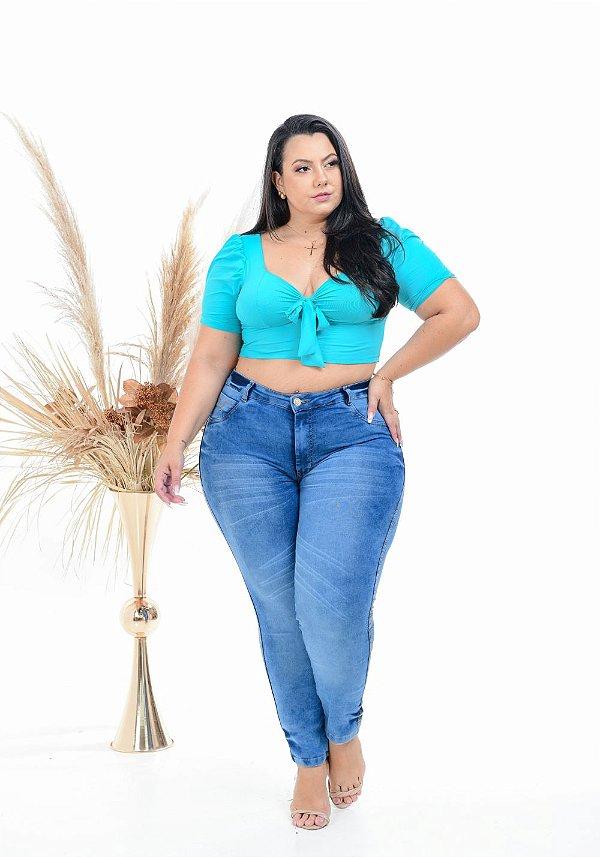 Calça Jeans Latitude Plus Size Skinny Karie Azul