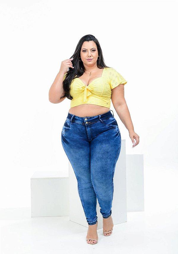 Calça Jeans Latitude Plus Size Skinny Biviana Azul