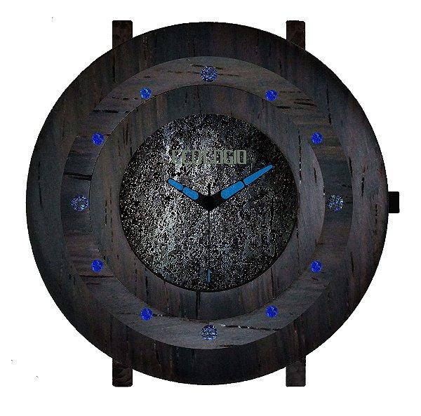 Relógio de Luxo Meteorito com Madeira Jacarandá e Vidro Safira