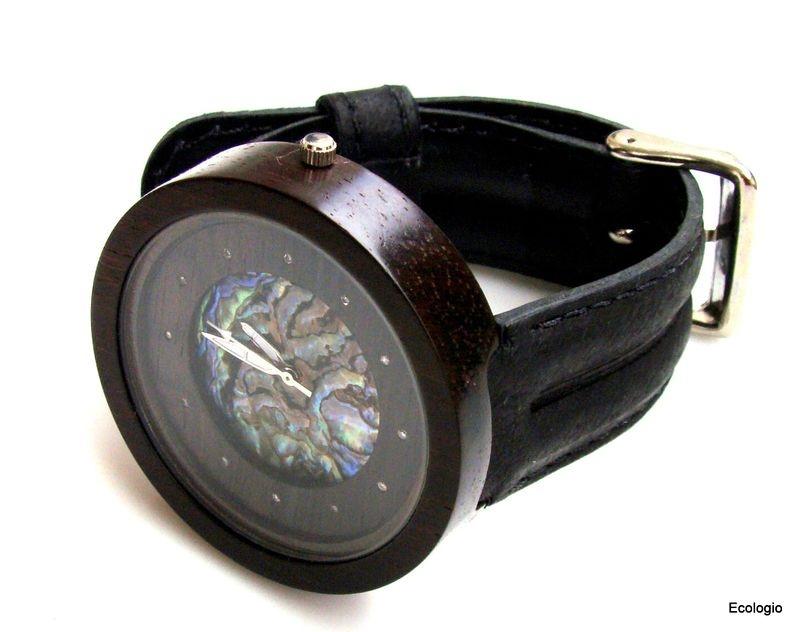 Relógio de Madeira Jacarandá com Diamantes e  Abalone