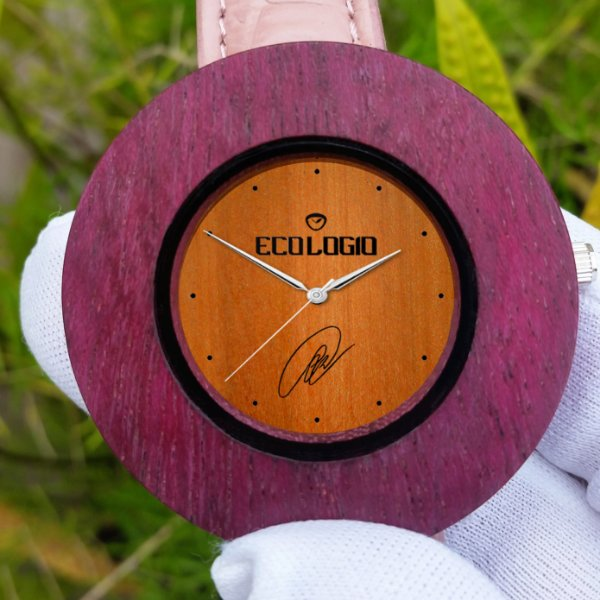 Relógio  Natual de madeira Eco Purple