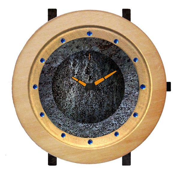 Relógio de Meteorito com Madeira Nobre e Safiras Naturais