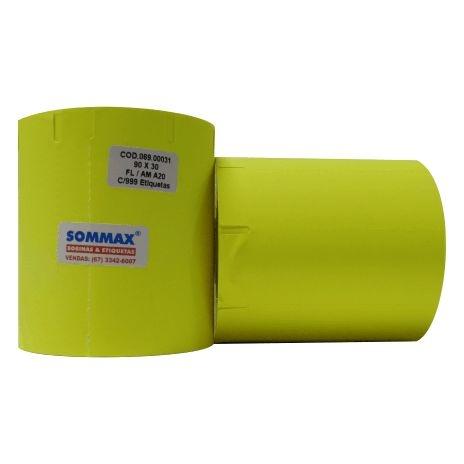Etiqueta para FRIZO 90x30mm Fluorescente Amarelo Com Gap Lateral Adesivo