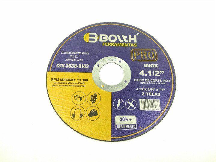 DISCO DE CORTE INOX 115x1,0x22,2MM 4.1/2'' BOLTH