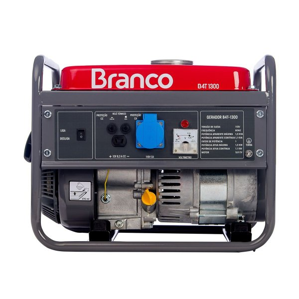 GERADOR BRANCO 110V B4T-1300 A GASOLINA PARTIDA MANUAL 2.8CV
