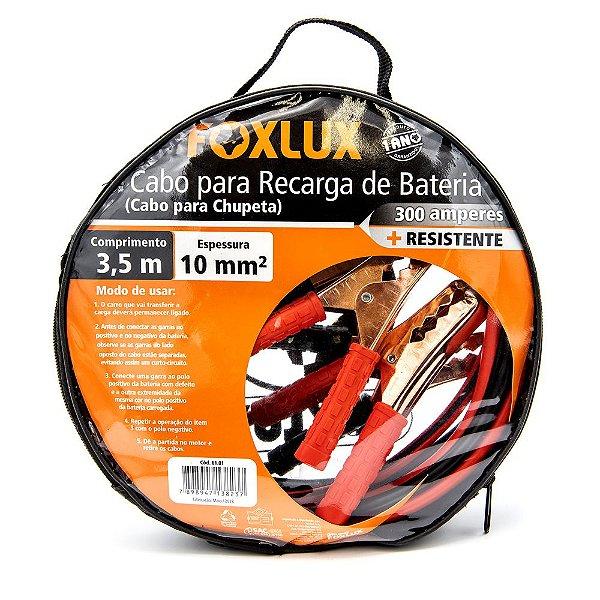 CABO PARA RECARGA DE BATERIA 300A 3,5M 10MM² FOXLUX
