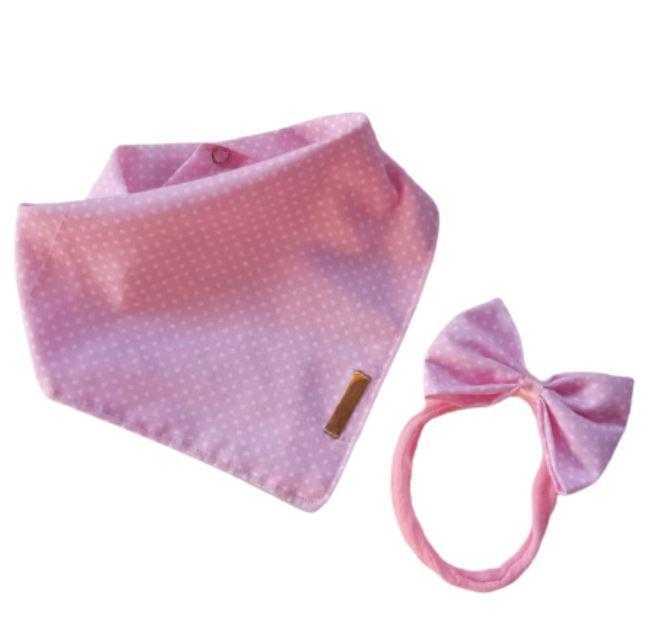 Babador bandana com faixinha de cabelo poá rosa