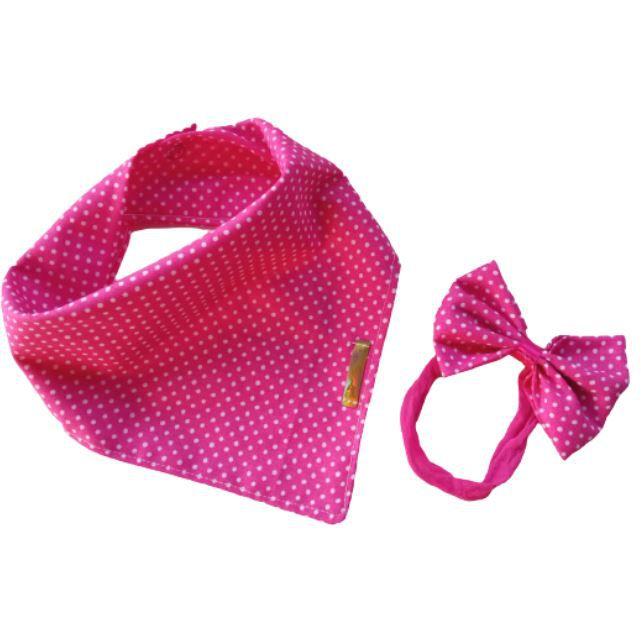 Babador bandana com faixinha de cabelo poá Pink