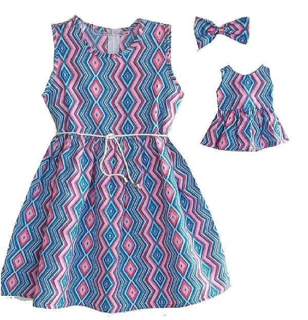 Kit Vestido Infantil e Boneca Petit Geométrico