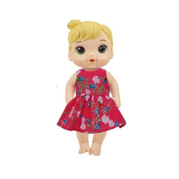 Vestido Boneca Vermelho Flores Baby Alive