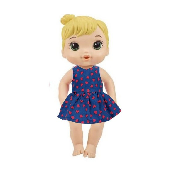 Vestido Boneca Marinho Corações Baby Alive