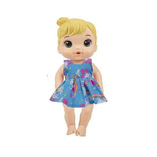 Vestido Boneca Unicórnio Azul Baby Alive