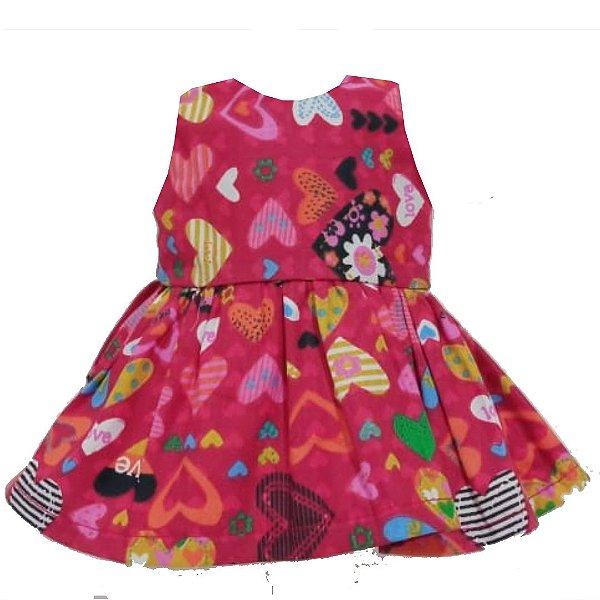Vestido Boneca Corações Vermelho Bebê Reborn