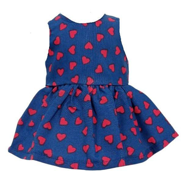 Vestido Boneca Marinho Corações Bebê Reborn