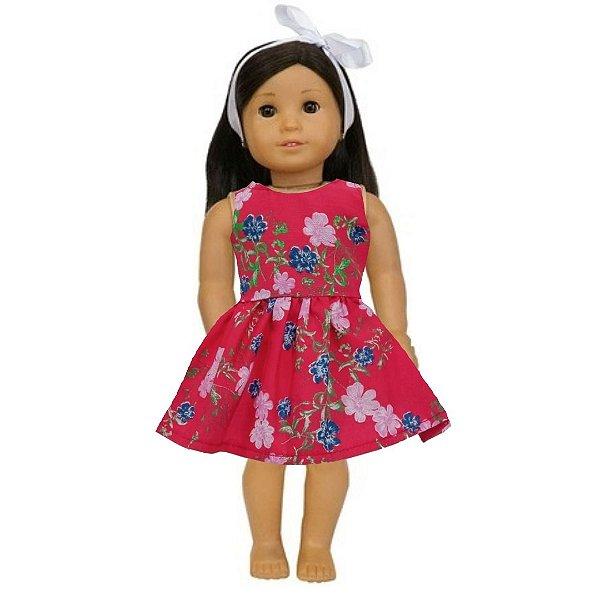 Vestido Boneca Vermelho Flores American Girl