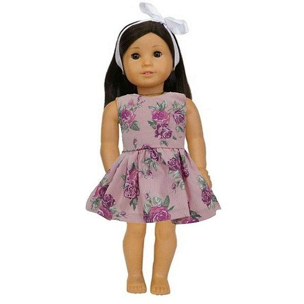 Vestido Boneca Rosê Flores American Girl