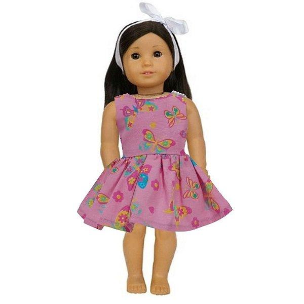 Vestido Boneca Borboletas Rosa American Girl