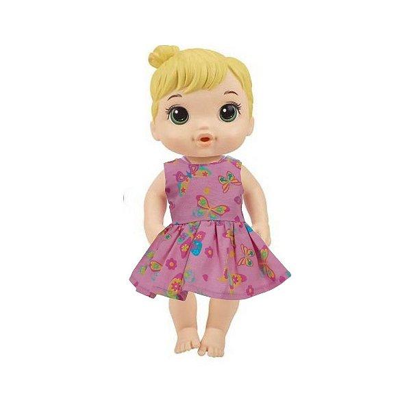 Vestido Boneca Borboletas Rosa Baby Alive