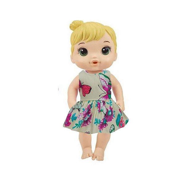 Vestido Boneca Borboletas Baby Alive