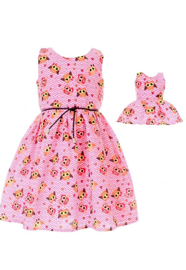 Kit Vestido Infantil e Boneca  Petit Coruja