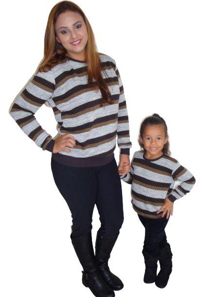 Blusa Tricot Marron Mãe e filha (Unidade)