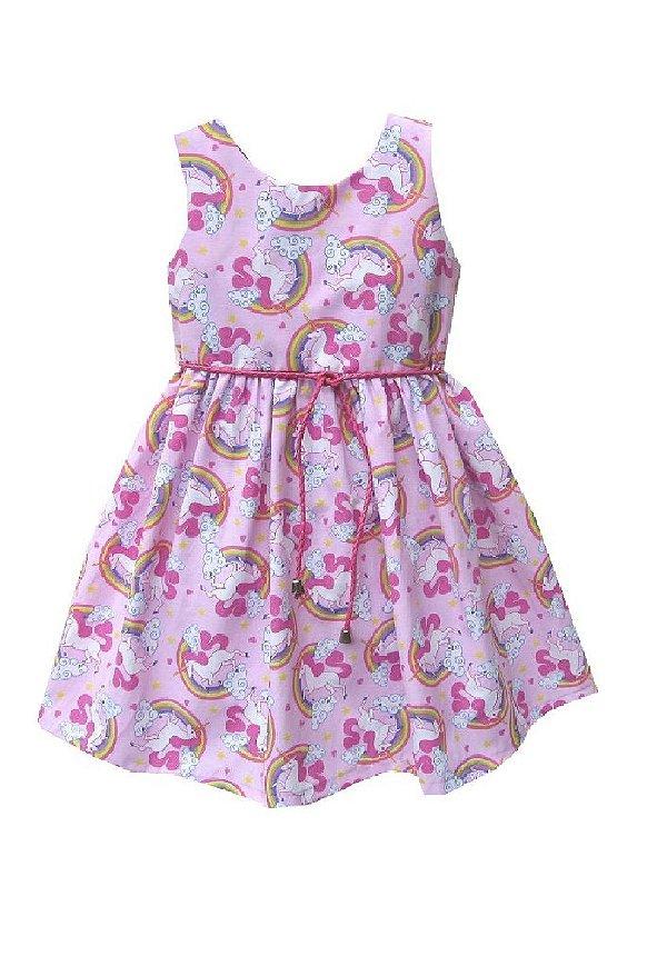 Vestido Petit Unicórnio Rosa
