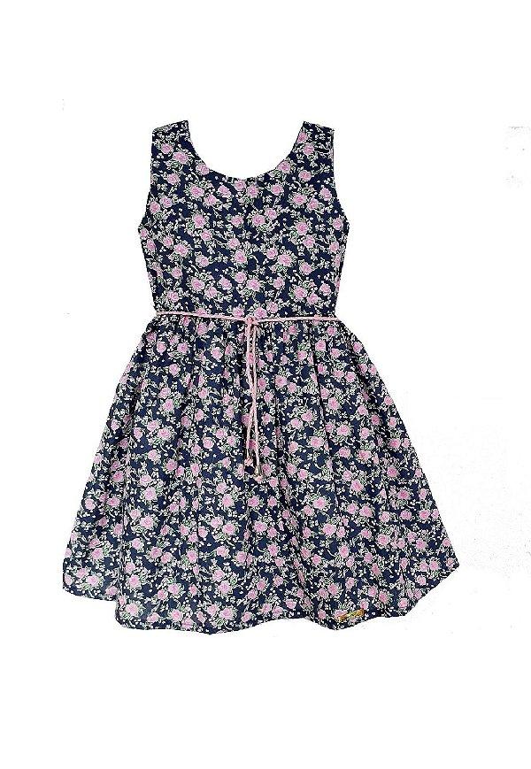 Vestido Petit Florzinhas Marinho