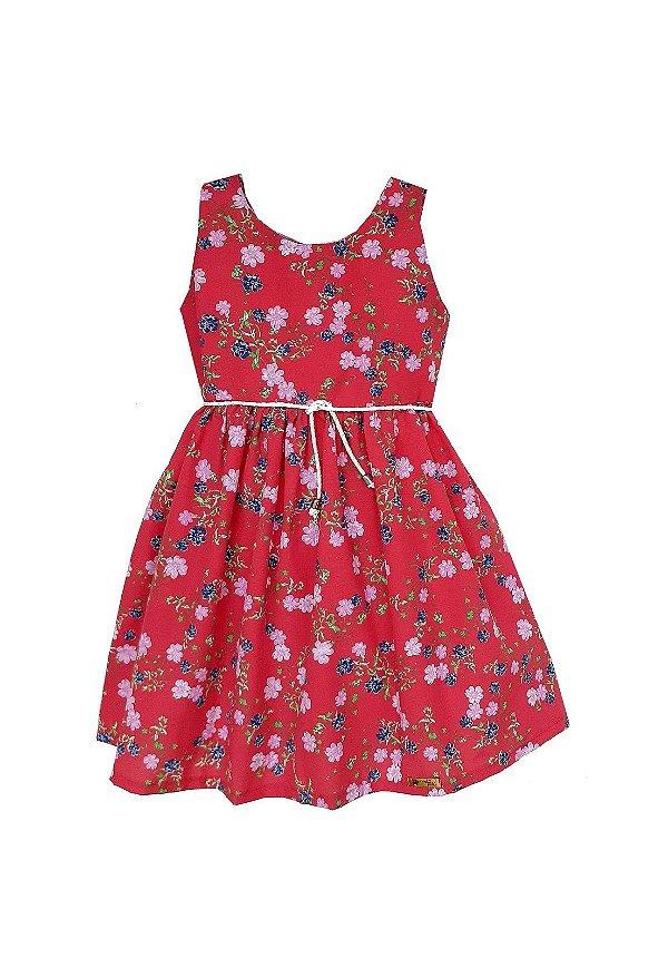 Vestido Petit Vermelho Flores