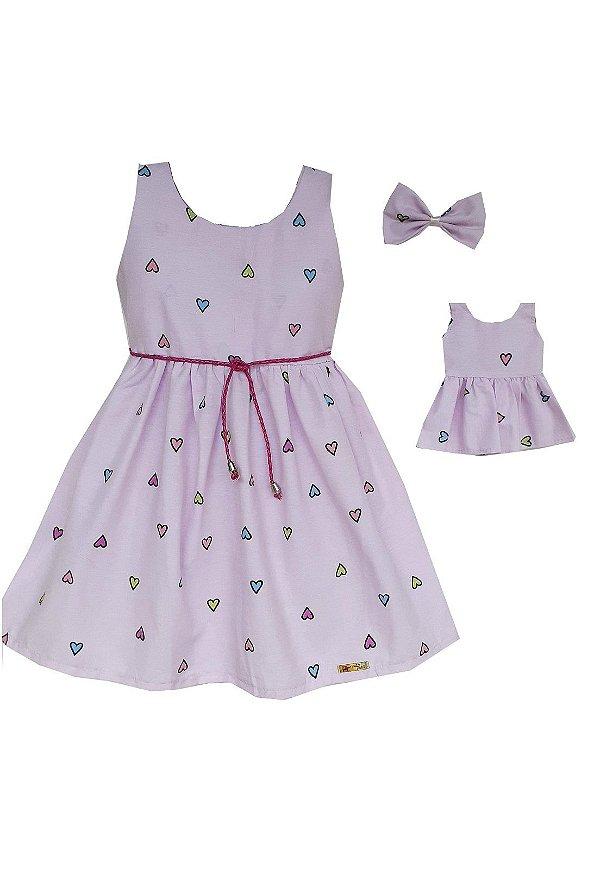 Kit Vestido Infantil e Boneca Petit Amor Rosa