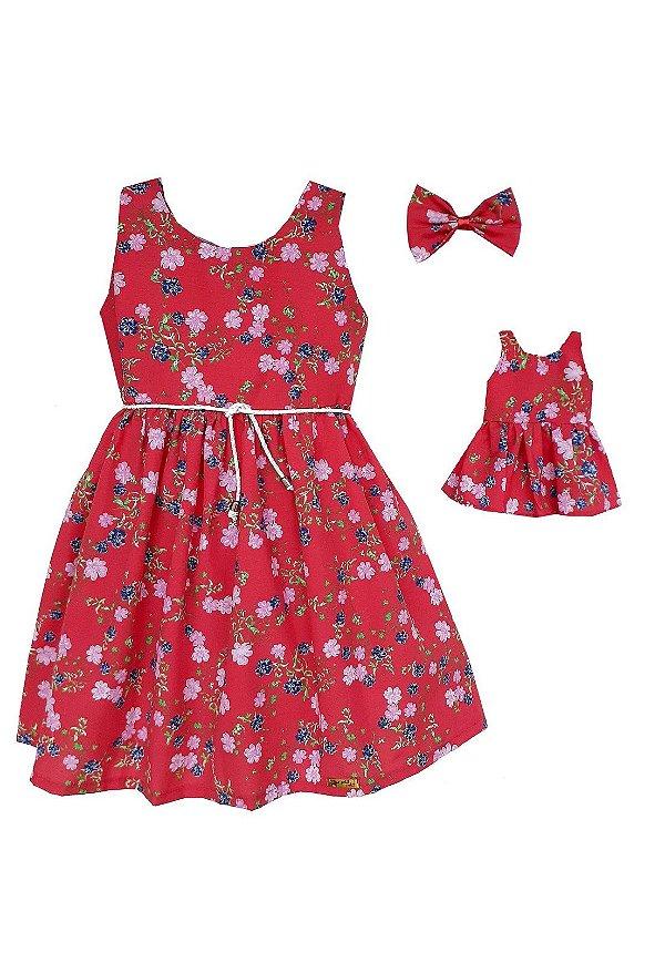 Kit Vestido Infantil e Boneca Petit Vermelho Flores