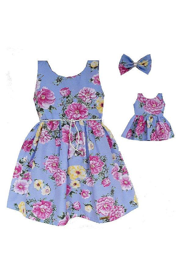 Kit Vestido Infantil e Boneca Petit Rosas