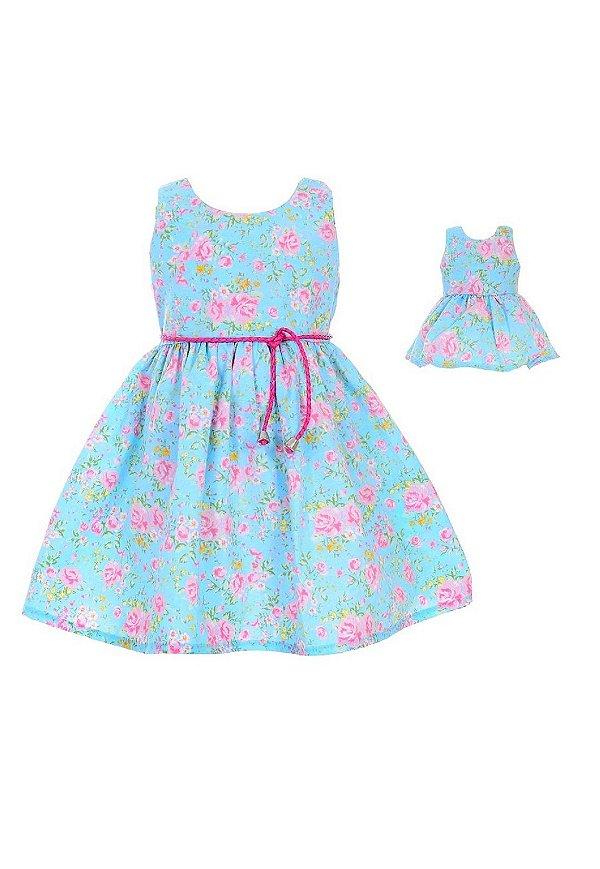 Kit Vestido Infantil e Boneca Petit Floral Rosas