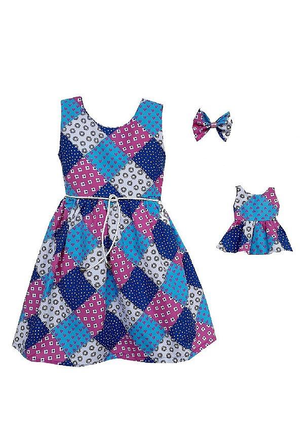 Kit Vestido Infantil e Boneca Petit Patch