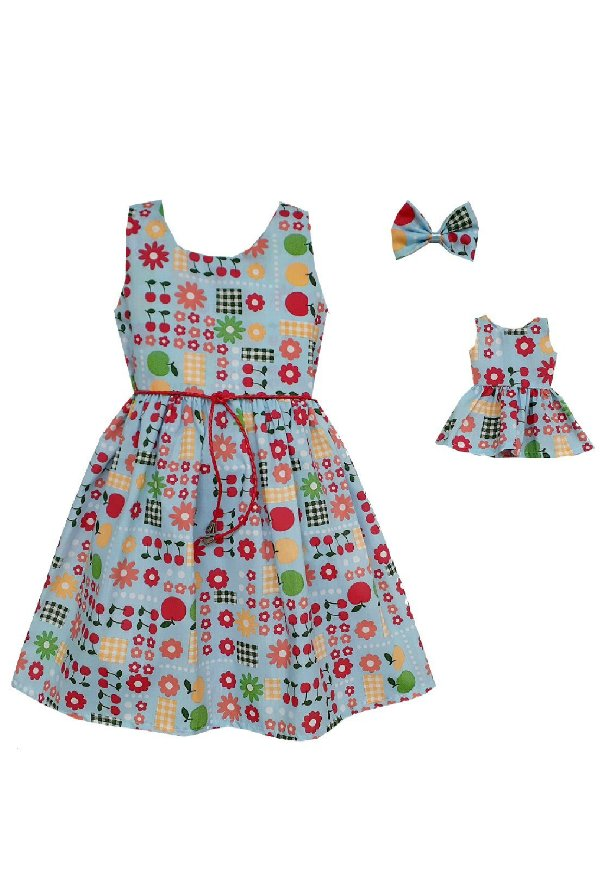 Kit Vestido Infantil e Boneca Petit Picnic