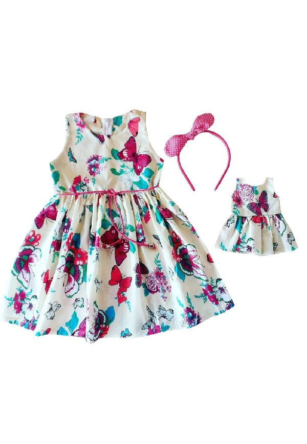 Kit Vestido Infantil e Boneca Petit Borboletas Bege