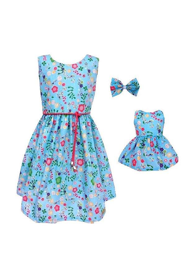 Kit Vestido Infantil e Boneca Petit Azul
