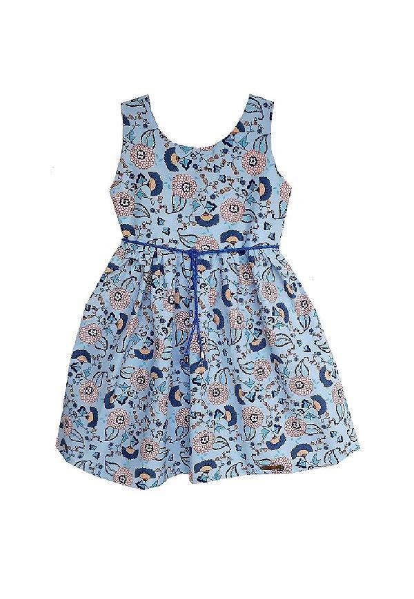 Vestido Petit Camélias Azul