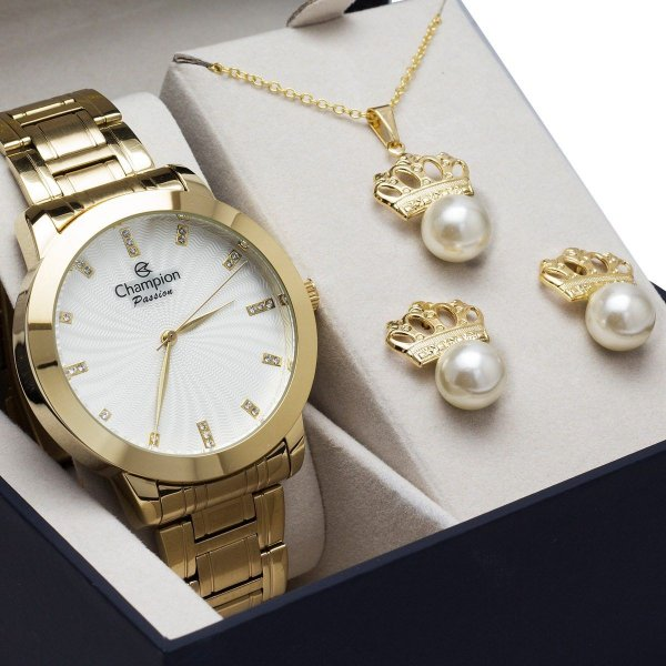 56b112ba7c9 Relógio Champion Feminino Banhado Ouro 18k Cn29276h + Brinde