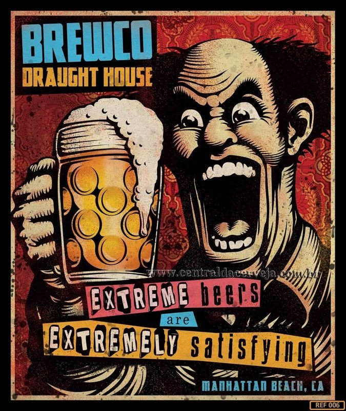 Placa Decorativa Vintage Brewco Extreme Beers 20x30