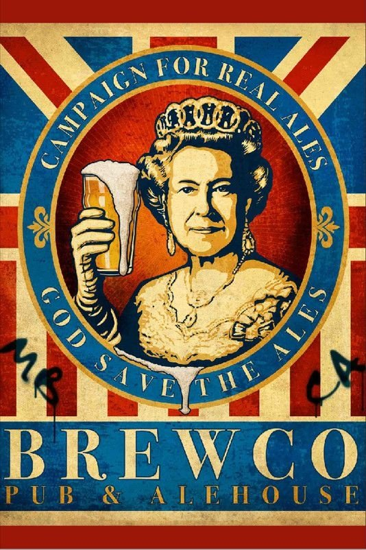 Placa Decorativa Vintage Brewco Rainha 20x30